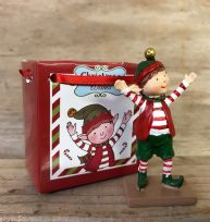 Christmas Wishes ~ Mini Elf Ornament in Gift Bag - Hands in the Air